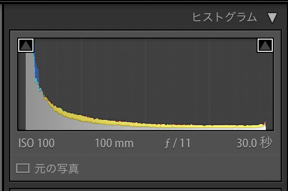 【lightroom】工場夜景レタッチ ヒストグラム