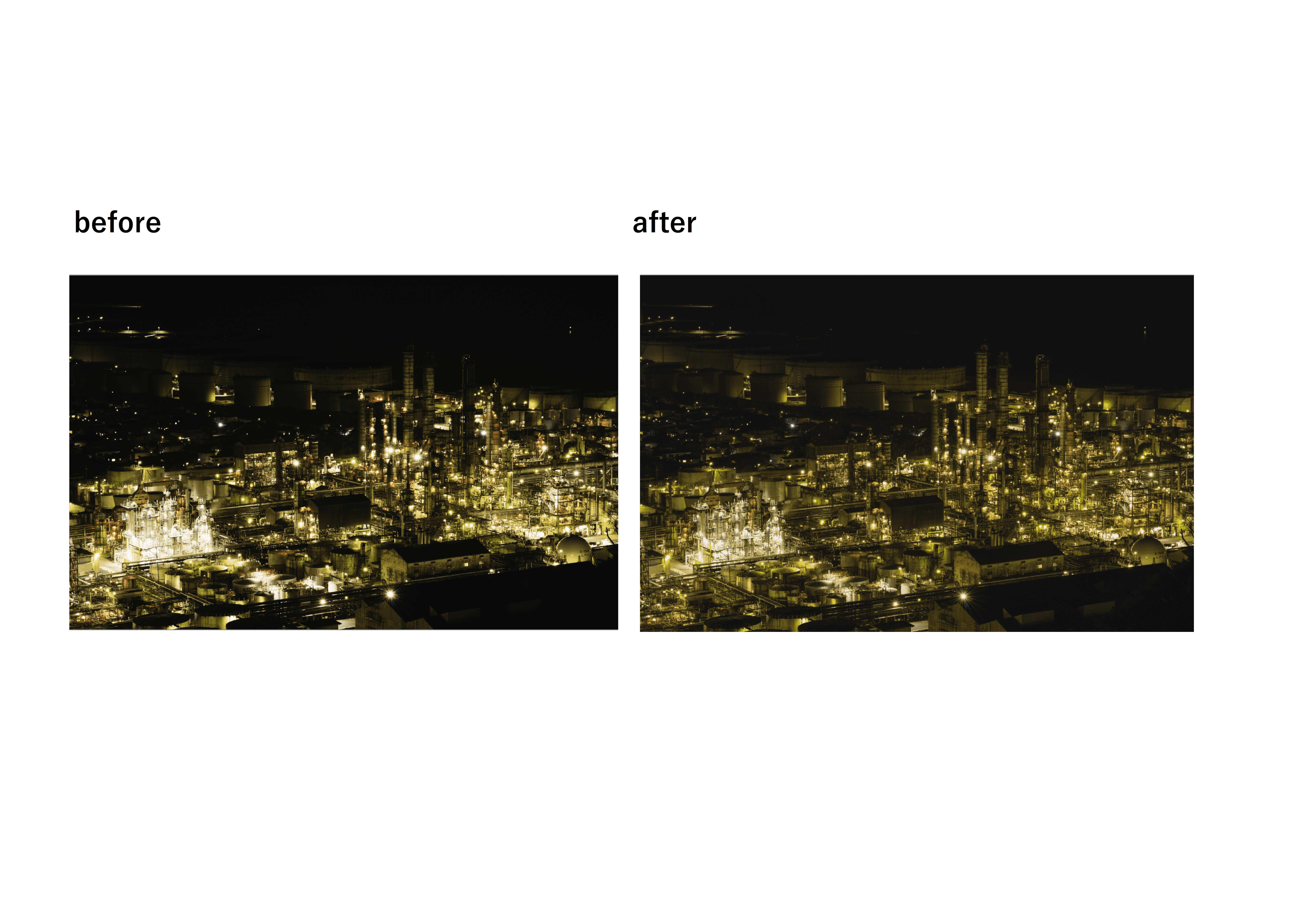 【lightroom】工場夜景レタッチ ハイライト・シャドービフォーアフター