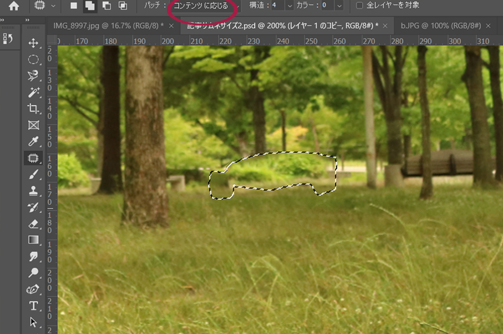 Photoshop【消す/増やす】 ②パッチツール 編集画面3